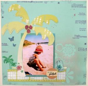Papiers Basi'like uni Blu05 et Tendance la bohème LB005, le masque décoratif fleurs, les sprays scintillants les Ginkos argile verte sur le fond et rose calin sur les noix de coco, le tissu adhésif brillant Les fantasias naturel photos, le sticker un jour parfait, les encreurs vert prairie et prune sucrée, la planche de tampons transparents Les fantasias Invitation au voyage.J'ai ajouté un trait de crayon sur le palmier et du scotch 3d et j'ai aussi utilisé les emballages du masque et des stickers alphabets.