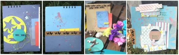 1 carte sur le thème de s'échapper du quotidien 1 carte colorée avec une pochette au dos pour glisser des photos par exemple avec un petit mot 1 dernière carte + classique