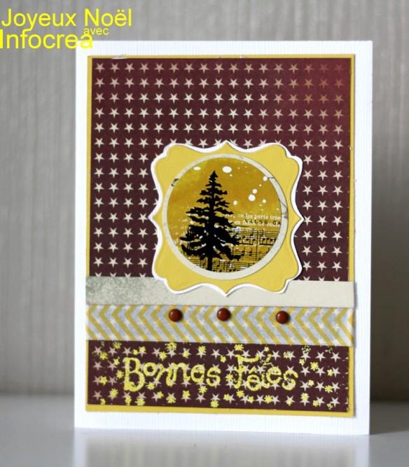 Noël est la saison des cartes... Qu'il est agréable de recevoir une carte qui réchauffe le cœur en cette période de partage. En ce moment féérique, j'aime le jaune, le doré... Rien de plus facile avec les papiers infocrea: papier jaune basi'like, papier noël d'autrefois NDA06, stickers ST 0082 (cette planche est un petit bijoux!). Et c'est avec la poudre à embosser Wow que je vous souhaite de bonnes fêtes.