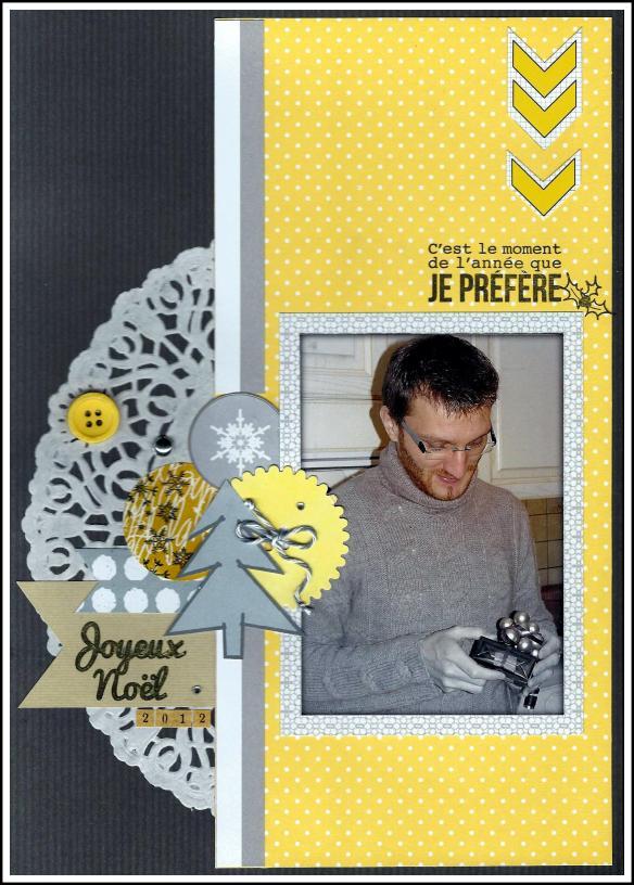 Pas facile le challenge de scraper Noël sans rouge ni vert! J'ai donc composé mon combo en partant de la photo et le jaune était idéal pour la mettre en valeur. Mariée au gris et au blanc, j'ai ensuite fait ma mise en page. Papiers Basi'like chocolat noir, Basi'like à pois, Basi'like faux-unis, Collections La Bohème,  Un jour en hiver et Direction OniriOsky / Stickers ST-0082 / Tampons LTM-0212 et LTM-0220 / Minidie Big bouton 2 / Alphabet Quads.