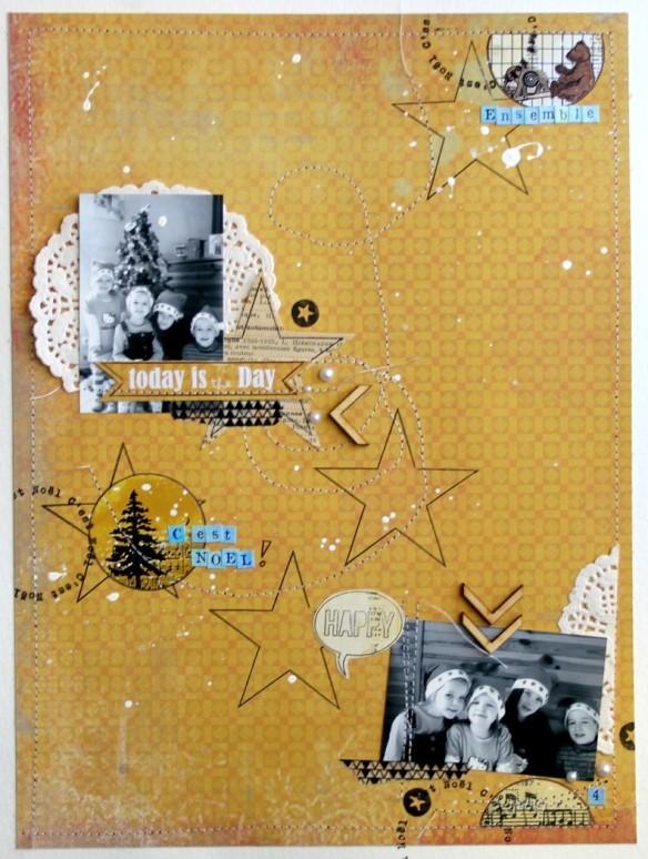"""quoi de mieux pour raconter noël que du jaune et du bleu ?! j'ai travaillé avec le papier de Melle Séverine sur le cinéma, et je trouve qu'il va pas si mal. le thème de Noel est rappeler par les étoiles, le napperon, les stickers et bien entendu les photos! """""""