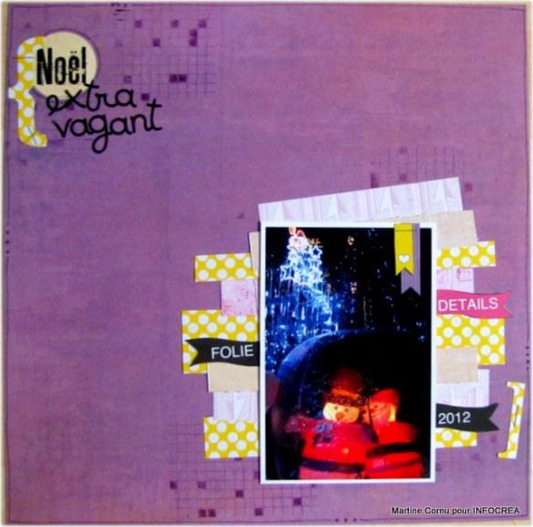 J'ai vraiment interprété ce challenge en jouant la carte des couleurs complémentaires par rapport à ma photo.  bleu+rouge= violet, la couleur complémentaire du violet et le jaune. 2 couleurs qui ne sont pas du tout dans la tradition de Noël. papier: Basi'like faux uni, Feu d'artifice, Mon amour, Woody Wood. Tampon de fond grillés. Encre prune sucrée.
