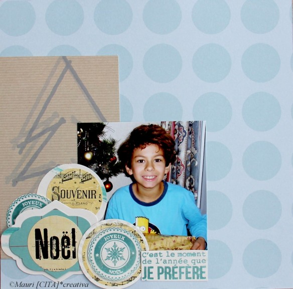 """Une page souvenir Noël sur le papier UJH03 """"Un jour en Hiver"""" Sticker Tampons Transparents Les Fantasias LTM 0218 et LTM 0212 Die Étiquette DCU 0111"""