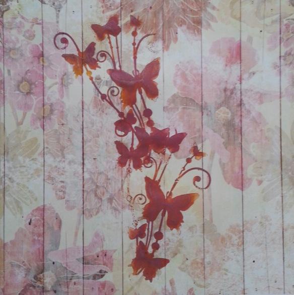 Mask bouquet de papillons Encre ginko lilas poudré et encre basi'like jaune citron,