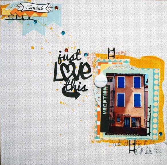 Papier Collection La Bohème - Encre en spray Basi'like Jaune citron - Encreur Orange mandarine - Encreur Gris Anthracite - Chutes de papier (diverses collections : Dizos pois, Prendre le temps, Feu d'artifice, faux unis), Masking tape Photographie (MT-0006), Tampons clear (set Typo-à la machine [LTM-0097], set Cocktail Paradise [LTM-0010-RD], set Comme un garçon [LTM-0012])